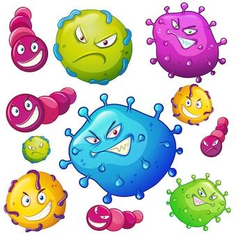 Bactérias com expressões faciais