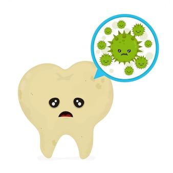 Bactérias e vírus microscópicos da cárie em torno do dente em uma boca virtual.