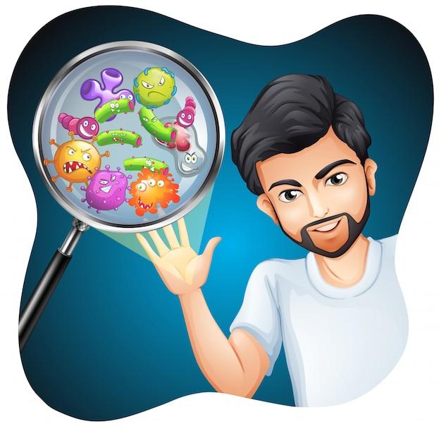 Bactérias na mão humana