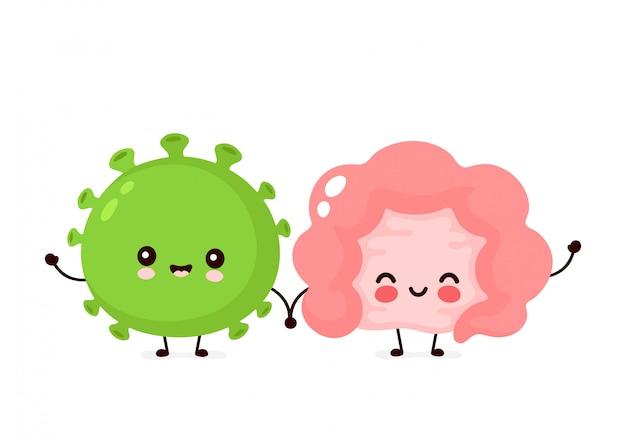 Bactérias probióticas felizes felizes bonitos e órgão do intestino. ícone da ilustração do personagem de desenho animado plana. isolado no branco. bactérias probióticas entéricas, intestino e flora intestinal