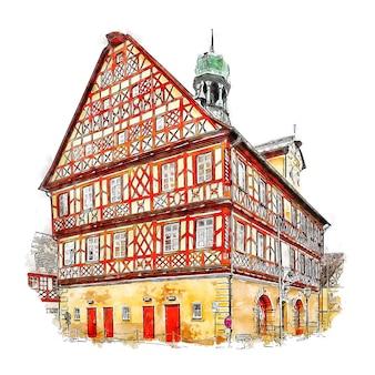 Bad staffelstein alemanha esboço em aquarela desenhado à mão