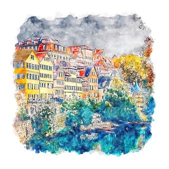 Baden wurttemberg alemanha ilustração em aquarela de esboço desenhado à mão