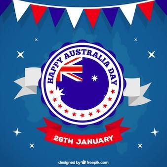 Badge dia austrália sobre um fundo azul