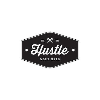 Badge hustle vintage style emblemas de marca