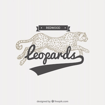 Badge leopard na ilustração do estilo