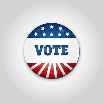 Badge vote. eleição presidencial dos eua em 2016