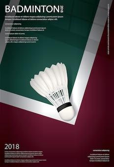Badminton championship poster vector illustration