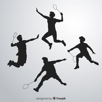 Badminton jogador silhueta collectio