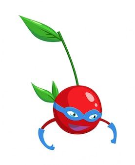 Baga de cereja de super-herói dos desenhos animados em um galho