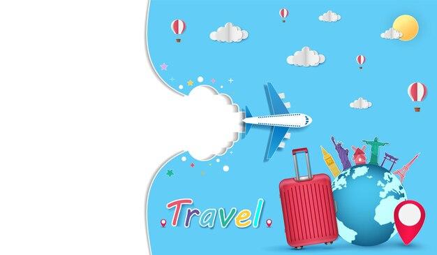 Bagagem avião e conceito de viagens mundialmente famoso marco