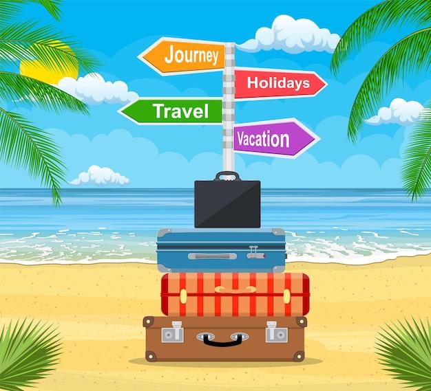 Bagagem, bagagem, malas com elementos de viagem
