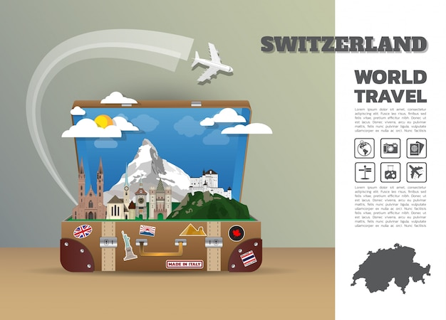 Bagagem de infográfico de viagens e viagens globais marco suíça. modelo de design. / ilustração.