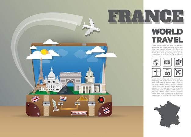 Bagagem de infográfico de viagens e viagens global marco de frança. projeto 3d