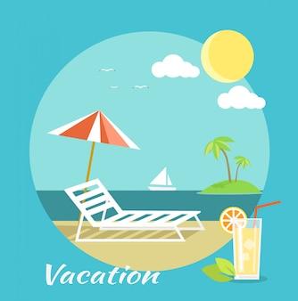 Bagagem de passageiros no apartamento. férias na praia