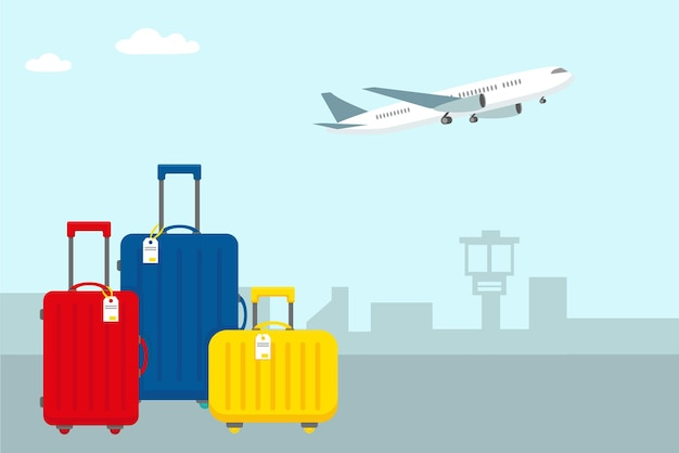 Bagagem de viagem brilhante no aeroporto e avião no céu
