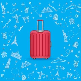 Bagagem desenhada com elementos de viagem