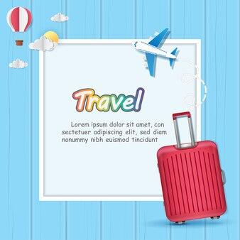 Bagagem e avião viajam pelo mundo.