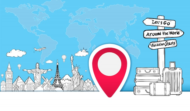 Bagagem e rabiscar mão desenhar viagens ao redor do mundo banner de verão.