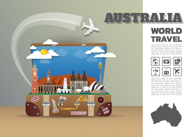 Bagagem global do infográfico do curso e da viagem do marco de austrália.