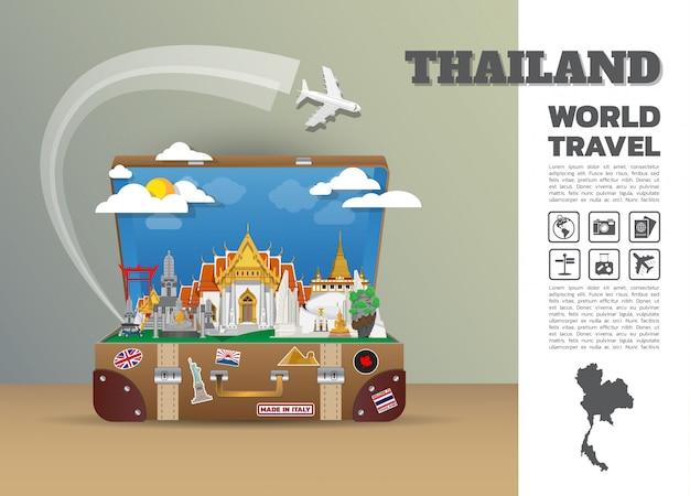 Bagagem global do infográfico do curso e da viagem do marco de tailândia. modelo de design. / ilustração.
