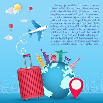Bagagem plane top mundo famoso marco viagem papel arte
