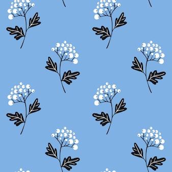 Bagas de arbusto branco ramo padrão sem emenda sobre fundo azul. textura pastel para design têxtil, telha repetida de vetor. estilo escandinavo minimalista com elementos desenhados à mão.