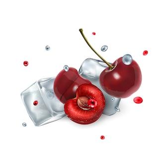 Bagas de cereja com cubos de gelo e gotas de água e suco