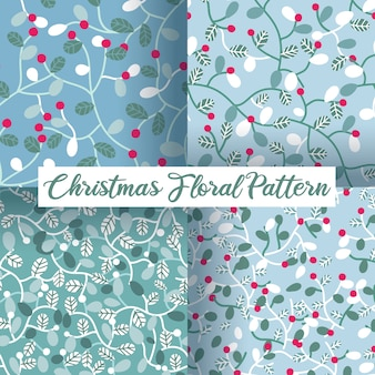 Bagas de natal e folhas sem costura padrão definido