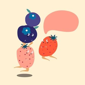 Bagas frutas com caráter de desenho animado de bolha do discurso em branco