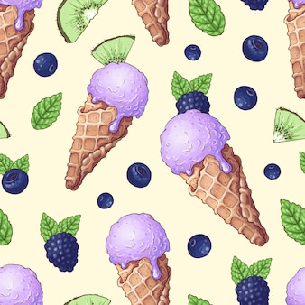 Bagas silvestres de sorvete sem costura padrão