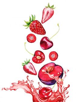Bagas vermelhas e frutas caindo no respingo de suco vermelho