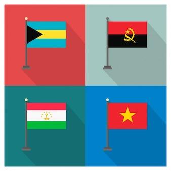 Bahamas angola tajiquistão vietnã e bandeiras