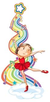 Bailarina com símbolos de melodia na onda do arco-íris
