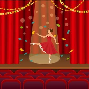 Bailarina dançando na cena da ilustração do teatro.