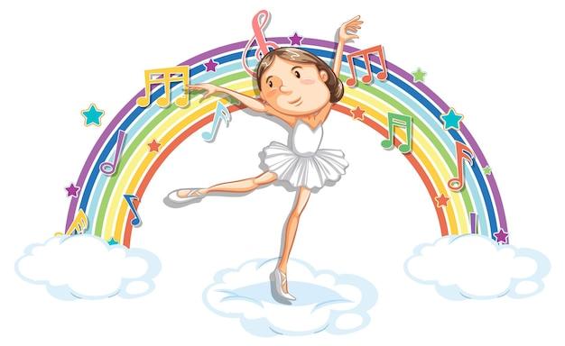Bailarina dançando na nuvem com símbolos de melodia no arco-íris