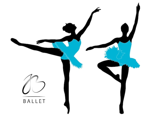 Bailarina dançando silhuetas negras em vestidos azuis em um fundo branco