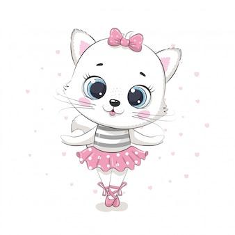 Bailarina de gato bebê fofo em uma saia rosa. ilustração
