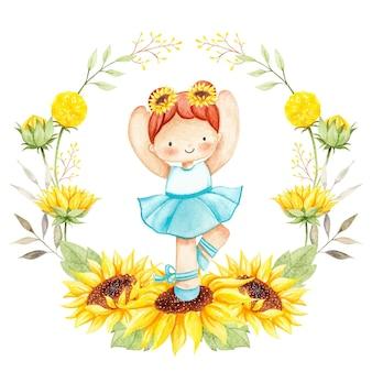 Bailarina de girassol em aquarela