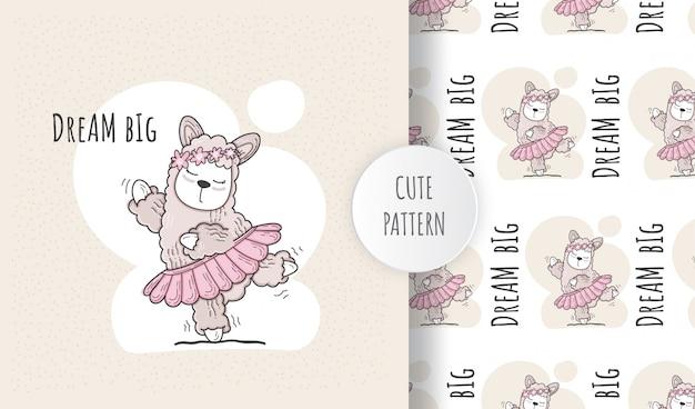 Bailarina de preguiça animal bonito sem costura padrão plana