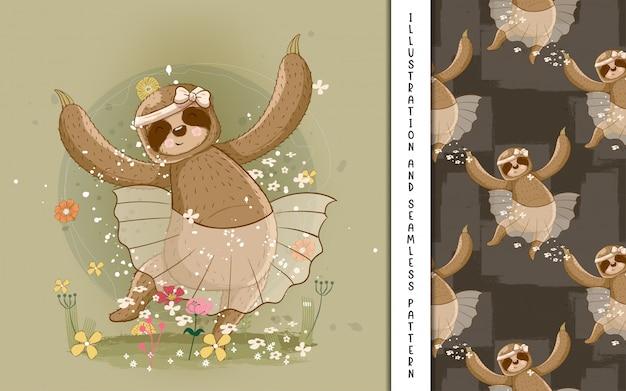 Bailarina de preguiça bonito mão desenhada dos desenhos animados. impressão, chá de bebê