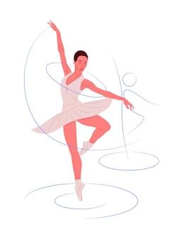 Bailarina de vetor em sombra de estilo de linhas nítidas