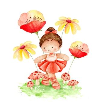 Bailarina em aquarela com flores