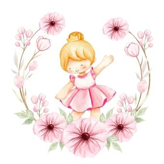 Bailarina em aquarela e flores