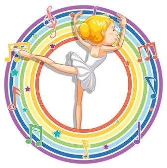 Bailarina em moldura redonda de arco-íris com símbolos de melodia