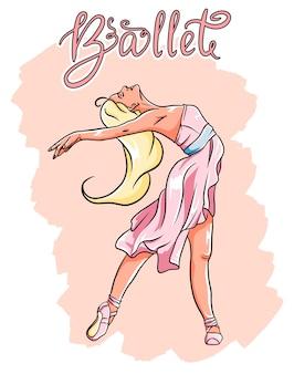 Bailarina em sapatilhas de ponta em um vestido rosa.