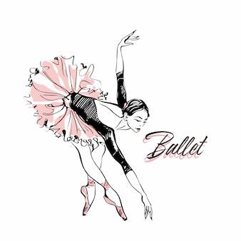 Bailarina em tutu de ballet rosa.