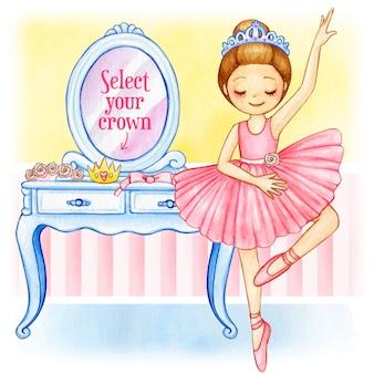 Bailarina princesa aquarela com coroa mutável e penteadeira