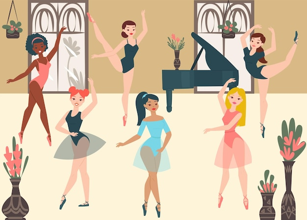 Bailarinas dançarinas, ilustração dos desenhos animados da dança clássica moderna da escola.