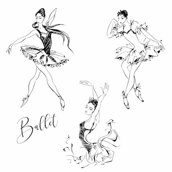 Bailarinas gráficos. conjunto.