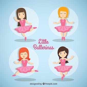 Bailarinas pequeno encantador com vestido rosa